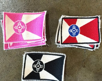 Wichita Flag Embroidered Patches - Multiple Colors!