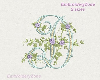D monogram Machine Embroidery design letter D from beautiful alphabet from old book Font D embroidery pattern. Hoop 5x7 6x10. 2 sizes .