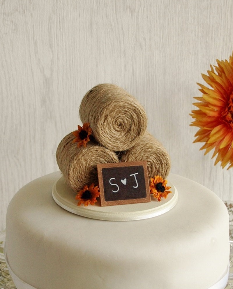 Sunflower Hay Bale Cake Topper Country Wedding Cake Topper