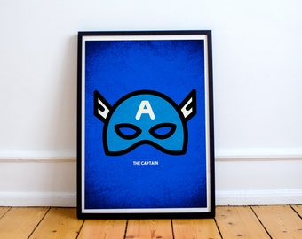 Captain America Minimalist Poster - Superhero Minimalist Series - Avengers Movie Comic Inspired Art - Available In Many Sizes
