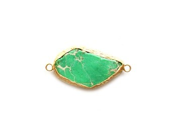 Green Variscite Connector - Gold plated Bezel - 1pc