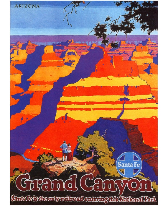 Grand Canyon Poster, Vintage Arizona Travel Print.