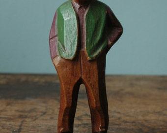 Wooden Old Man Statue Handmade Handpainted Doll Statue Doll Jewish Doll Green Vest Grandpa Grandfather
