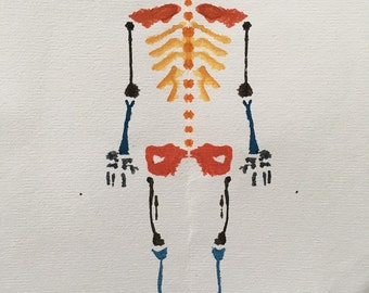 Monster Rorschach Skeleton Painting / Greeting Card