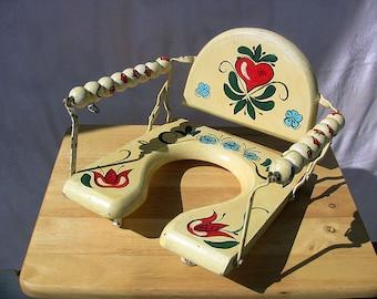 Vintage Potty Seat Folk Art Chair Painted Childs Chair Shabby Bathroom Decor