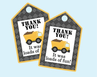 Construction Party Favor Tag. It Was Loads Of Fun. Instant Digital Download. Dump Truck Party Favor Tag.