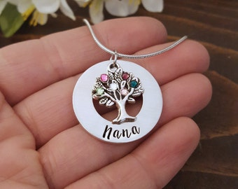 Family Tree With Birthstones Grandmother Necklace | Necklace For Nana | Nana Necklace | Gift For Nana | Gift From Grandkids | Nana Necklaces