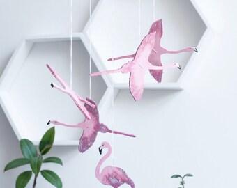 Flamingo Nursery Decor - Flamingo Mobile - Baby Mobile - Bird Mobile - Pink Bird Mobile - Pink and Gold Nursery Decor - Baby Shower Gift