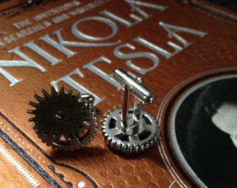 Steampunk gear and sprocket cufflinks\cuff links
