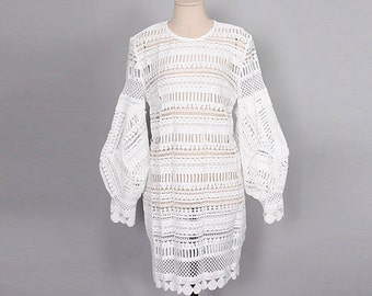 Crochet Balloon Sleeve Dress