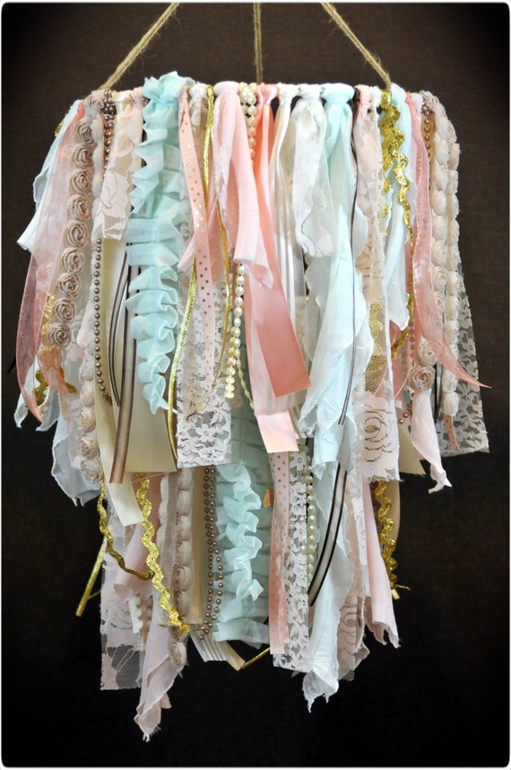 Shabby Chic Fabric Double Tier Chandelier Lace And By