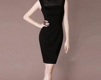 Vintage Black Mini Dress Sheath Elegant Evening Dress Peter Pan Neckline Party Dress Midi Dress Made to Measure ChiefLady CF68