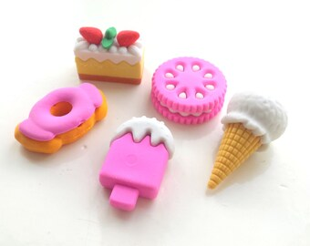 "Cute colorful eraser set ""sweets"", 5 pcs"