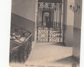 1908 Antique Architectural Wrought Iron Gate Caen France Le Lycee Postcard