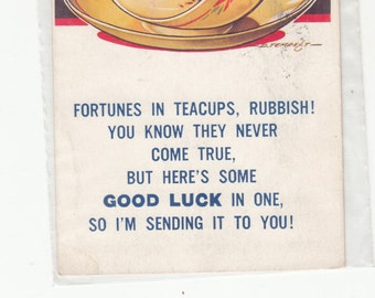 Fortunes,Good Luck In Teacups ??Rubbish, Postcard 1930's,