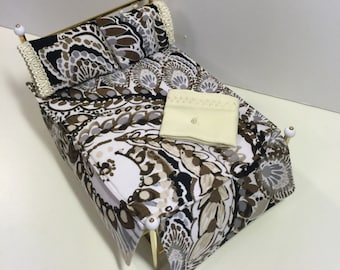 "1:12 scale Dollhouse Bedding ""Modern""print bedding Full"