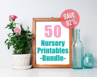 Nursery Decor Bundle (Set of 50 8x10s) -  Nursery Prints, Printable Art, Baby Boy Nursery, Fox Nursery Decor, Woodland, Nursery Printables