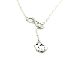 Dangle Bird Necklace, Bird Charm Necklace, Charm Jewelry, Infinity Necklace, Infinity Bird Necklace, Silver Infinity Bird, Bridesmaid Gift