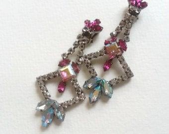 Ruby chandelier rhinestone earrings, ruby and blue iridescent glass, wedding earrings