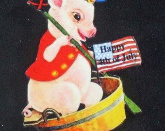 July 4th Boat Pig Pin Handcrafted Wood American Flag Decoration, Navy Sailor Cap, Rowboat Oar, Refrigerator Magnet, Dressed Animal Lover