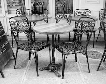 Paris photography, Paris cafe chairs, sidewalk cafe, Paris black and white photography, Paris decor, home decor, fine art print