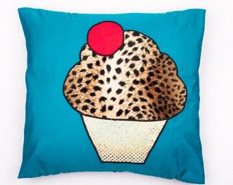 Cute Leopard print cupcake cushion - 40 x 40cm