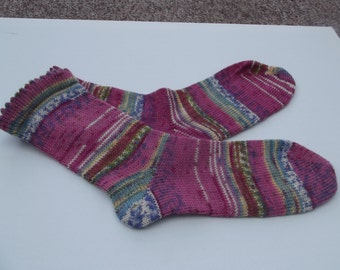 Pink Socks made on a Circular Sock Machine and hand finished by me