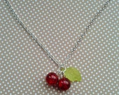 Rockabilly Cherry Necklace,Rockabilly Jewelry,Costume Jewelry,Pin Up Accessories,Vintage Style Pendant,Glass Bead Necklace,Cherry Necklace