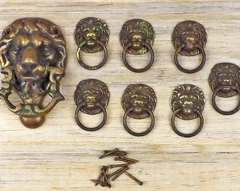 Lion Door Knocker and Brass Lion Pulls - NOT Modern Reproductions ~ Vintage Hardware - Furniture Pulls - Vintage Front Door Knocker #2-3