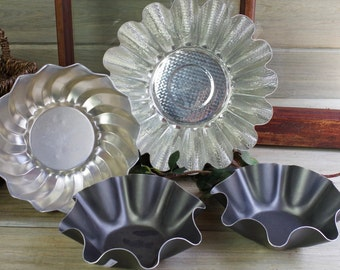 4 Fluted Molds, Decorative Molds, Fluted Baking Pans, Farm Kitchen, Baking Tins, Wall Display, Country Kitchen, Mold Wall Art #7-10