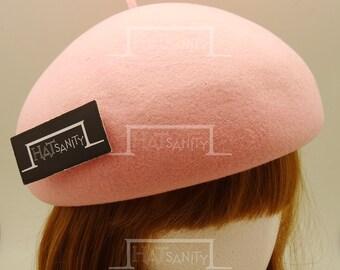 VINTAGE x ELEGANT Soft Wool Felt Beret Flat-Crowned Hat - Pink