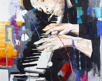 Art Print/Musician print /Piano Man/Piano/canvas art /music art/Piano/Abstract art/Pallete knife/Oil Print/Ready To Hang