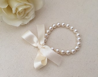Little Girl Pearl Bracelet with ivory ribbon for flower girls, toddler birthday, babies photo prop, birthday girl, birthday party