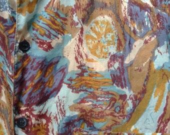 Tissue Silk Short Sleeve Shirt Painterly Print
