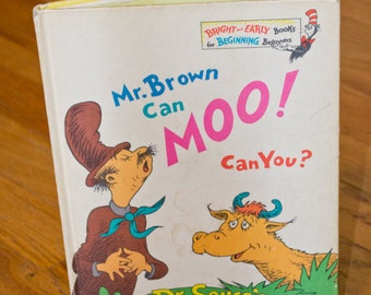 Vintage Dr. Seuss book Mr. Brown Can Moo! Can You? 1970 First Edition