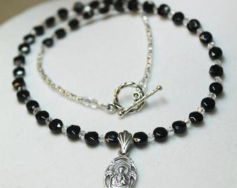 Woman's Catholic Necklace; St. Joseph & Black Onyx Choker; Catholic Gifts