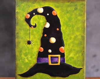 Halloween Art, Folk Art Painting, Witch Hat Decor, Halloween Painting, Halloween folk art, Halloween wall decor, Halloween Canvas, Witch Art