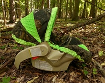 Camo Infant Car Seat Cover made with Mossy Oak fabric and Lime Green Minky