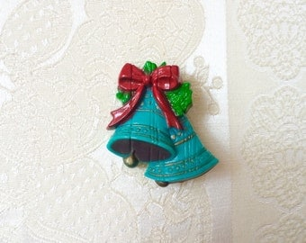 1970s - 1980s Teal Plastic Christmas Bells Brooch with Holly Leaves and Bow