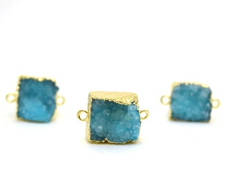 Aqua Druzy Connector Bead | Sky Blue Druzy Gold Plated Connector | 12mm - 16mm Square Druzy | 24k Gold Plated Druzy