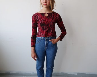 90s Vintage Red and Black Paisley Long Sleeve Top