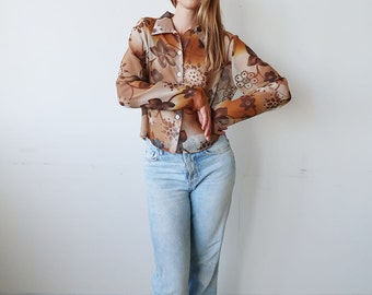 SALE! Semi Sheer Orange and Brown Floral Cropped Blouse