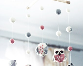 Baby Mobile - Needle Felted Owl Mobile, Nursery Decor, Baby Shower Gift