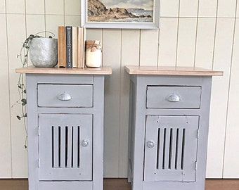 SOLD - Pair of Rustic Bedside Tables in Paris Grey