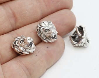 5 Pcs Antique Silver Lion Charms, Lion Head Charm , Bracelet Charms , Animal Charm , KDR113