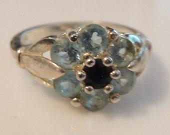Vintage Jewelry Blue Sapphire Topaz Sterling Ring sz 10 Flower motif