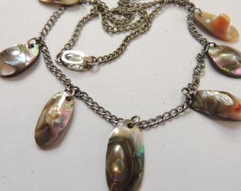 Vintage Blister Pearls Abalone Sterling Silver Necklace