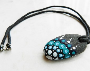 Hand Painted River Stone Pendent Necklace