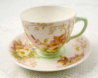 Old Royal Tea Cup and Saucer with Flowers and Green Trim, Vintage Teacup and Saucer, English Bone China