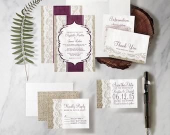 Eggplant Purple Wedding Invitation Set/Suite, Printed/Printable Wedding Invitations/Invites, Save the date,RSVP,Thank You Cards, Digital/PDF